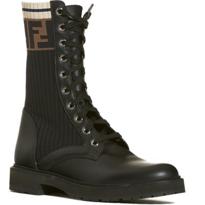 Fendi Rockoko Chelsea Sock Combat Boot - Black