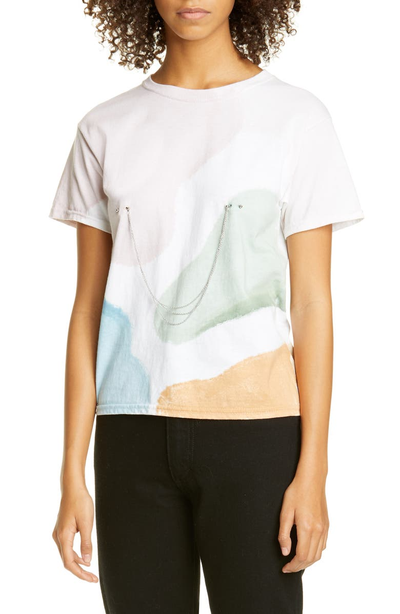 COLLINA STRADA Pierced Chain Painted T-Shirt, Main, color, WATERCOLOR