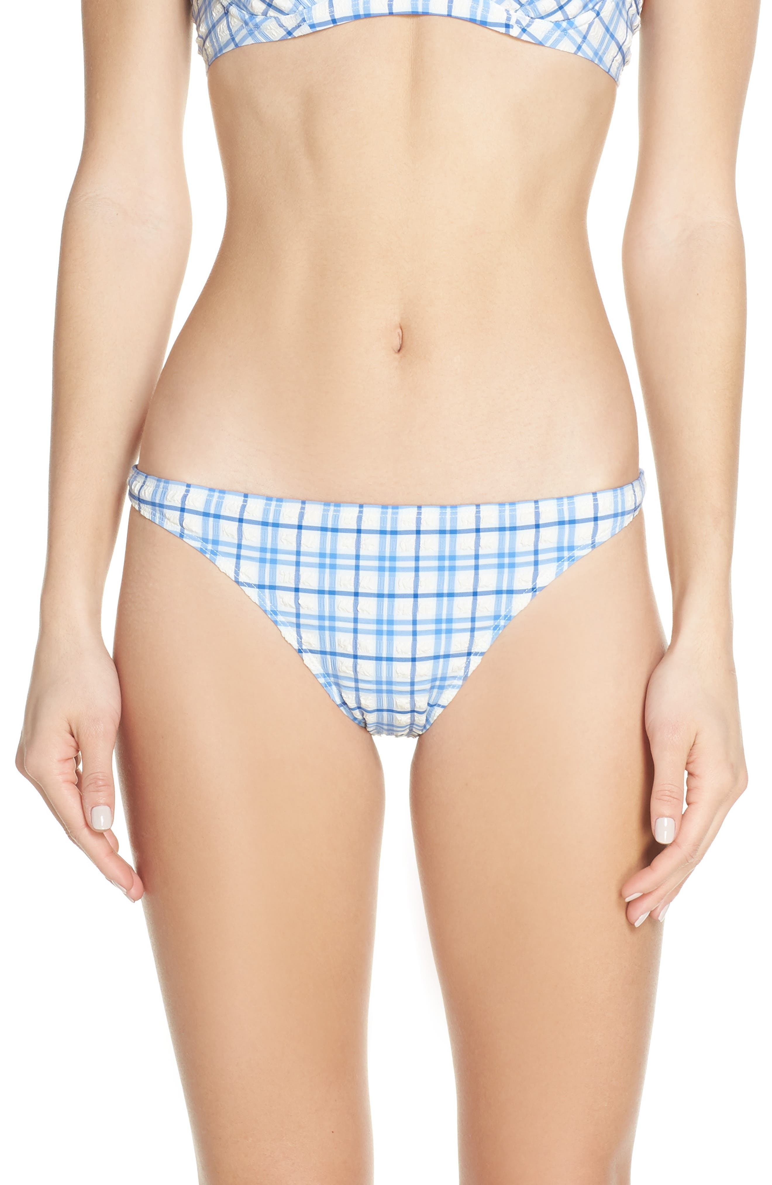 Tory Burch Plaid Hipster Bikini Bottoms, Blue