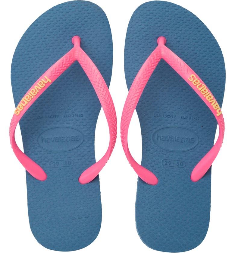 HAVAIANAS Slim Flip Flop, Main, color, BLUE