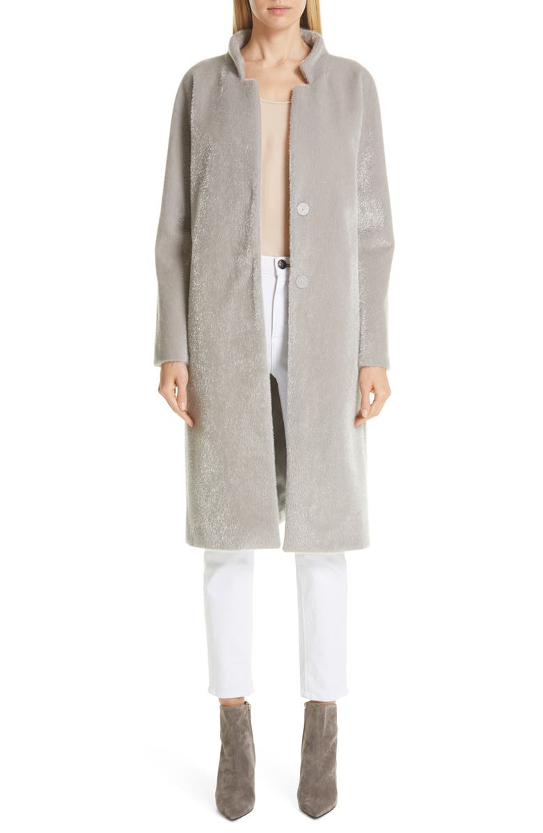 HERNO Long Belted Shimmer Faux Fur Coat, Main, color, SILVER