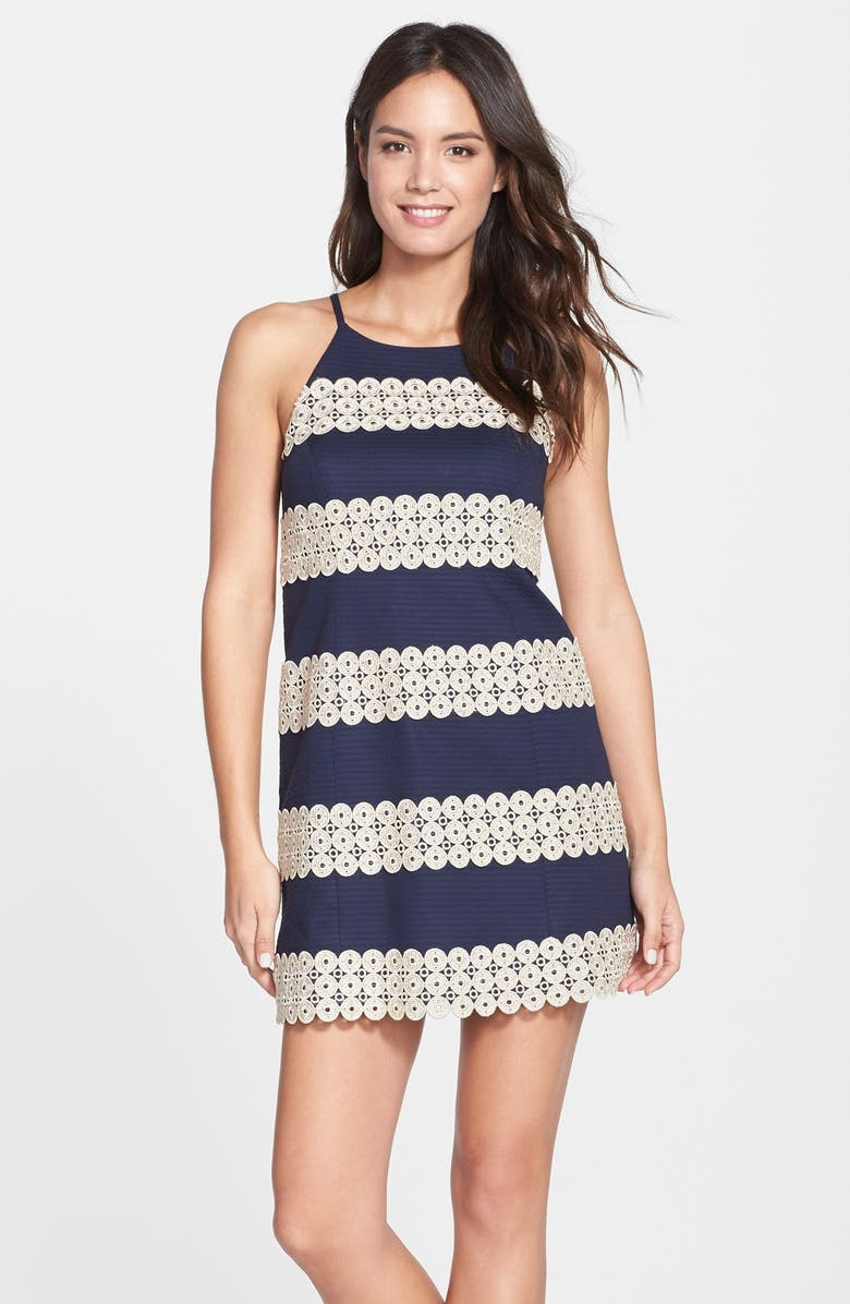 LILLY PULITZER<SUP>®</SUP> 'Annabelle' Lace Appliqué Shift Dress, Main, color, 408