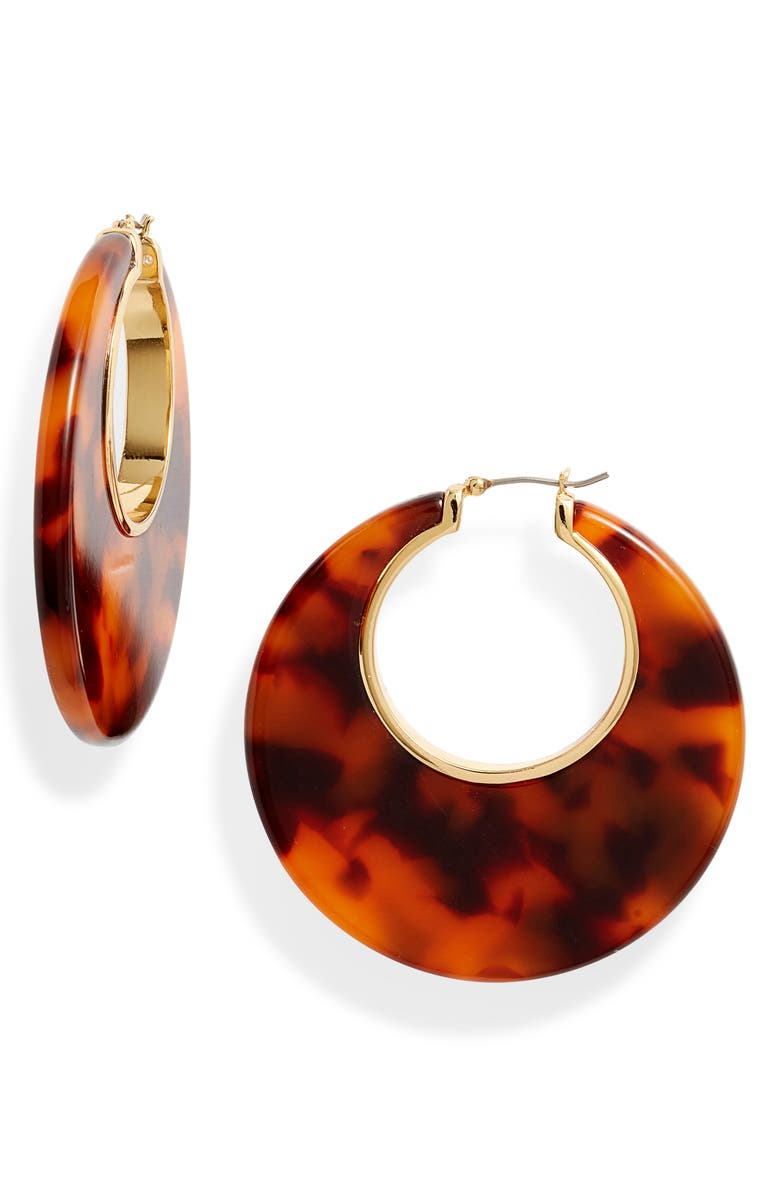 KATE SPADE NEW YORK on the dot hoop earrings, Main, color, TORTOISE