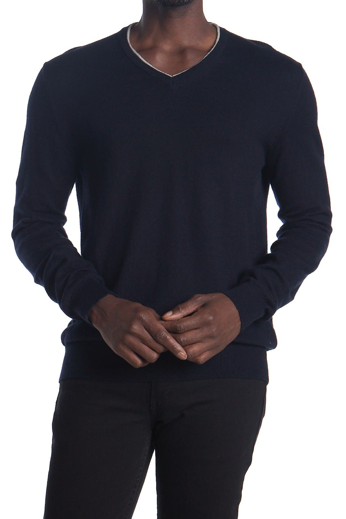 Image of AMICALE Long Sleeve V-Neck Cotton Cashmere Blend Sweater