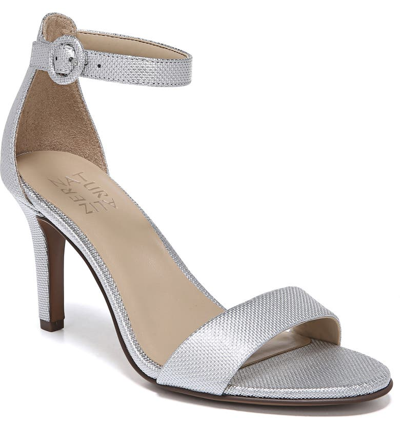 NATURALIZER Kinsley Ankle Strap Sandal, Main, color, SILVER