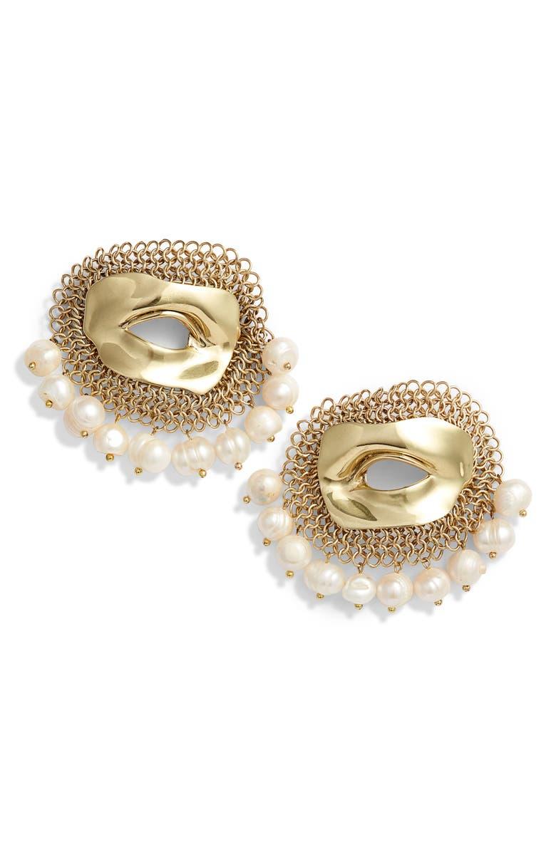 ELLERY Pedigree XL Eye Earrings, Main, color, GOLD