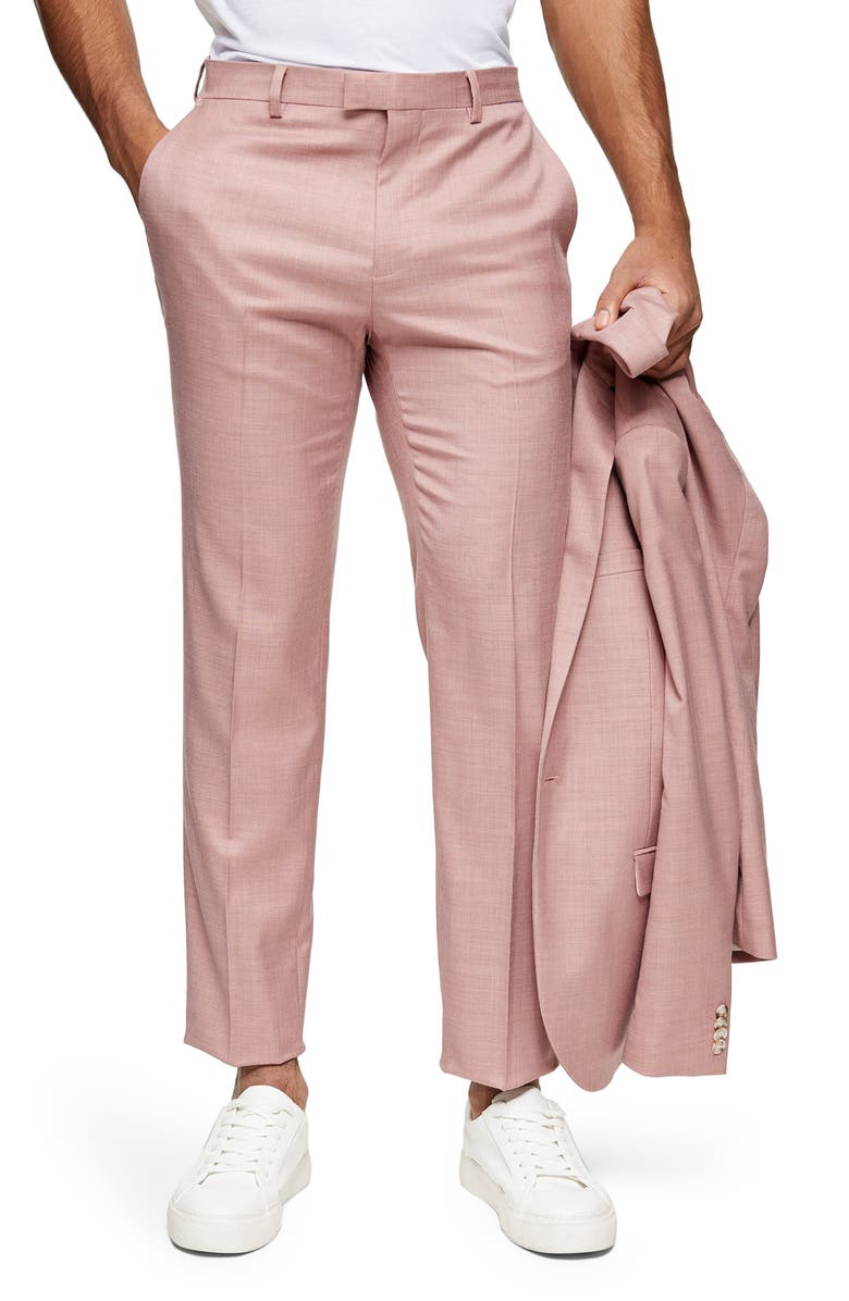 TOPMAN Dax Slim Fit Flat Front Ankle Trousers, Main, color, PINK