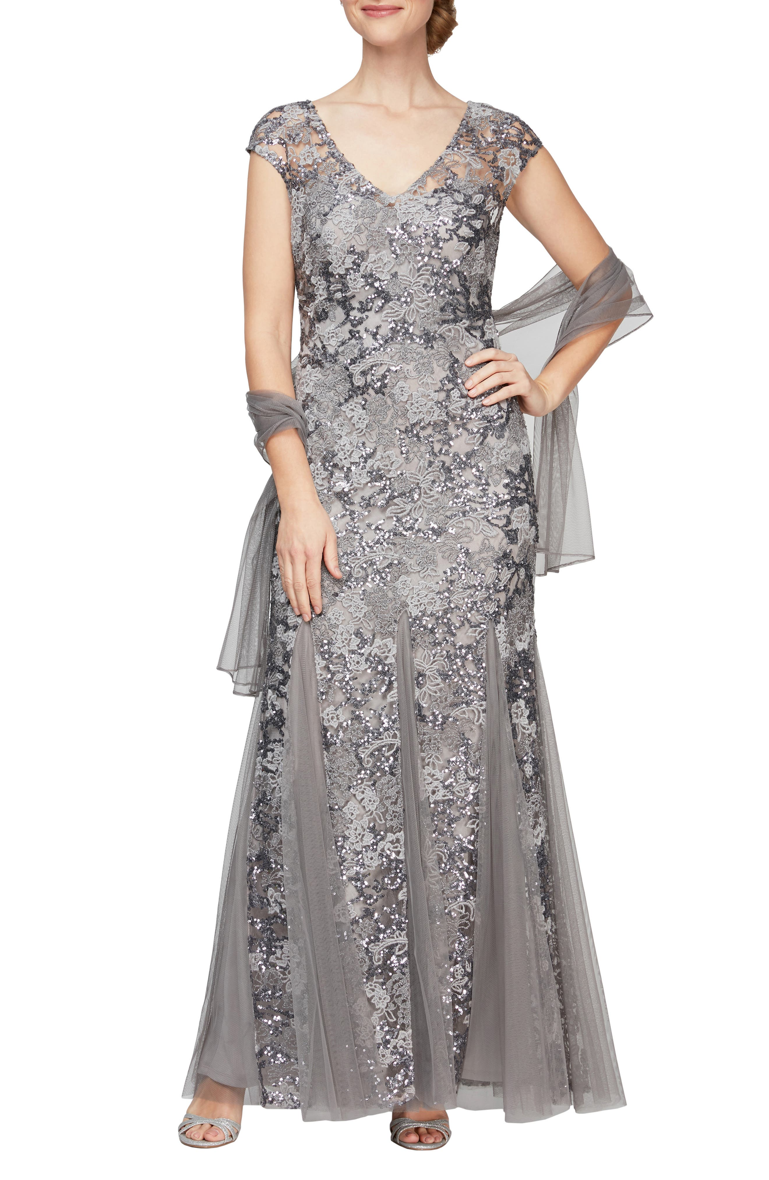 1930s Evening Dresses | Old Hollywood Silver Screen Dresses Womens Alex Evenings Sequin Embroidered Trumpet Gown Size 14 - Metallic $259.00 AT vintagedancer.com