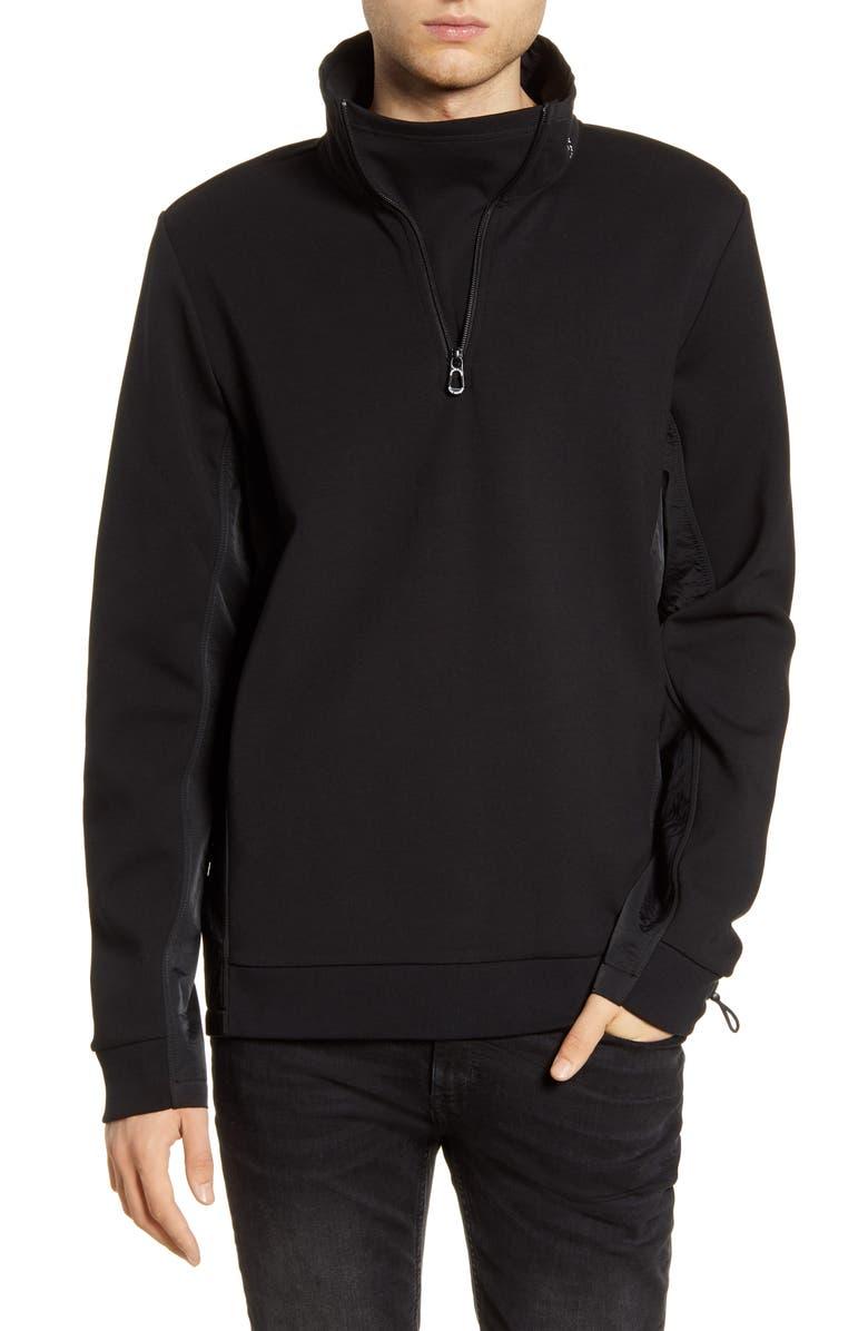 SCOTCH & SODA Half Zip Funnel Neck Pullover, Main, color, BLACK