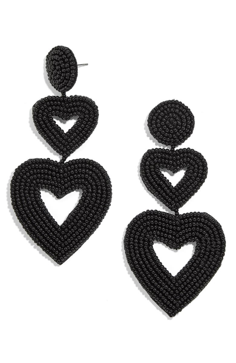 BAUBLEBAR Double Heart Beaded Drop Earrings, Main, color, BLACK