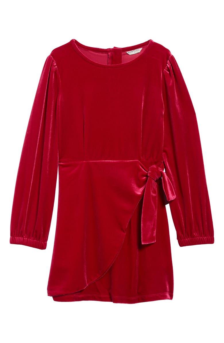 HABITUAL Logan Velvet Faux Wrap Dress, Main, color, RED