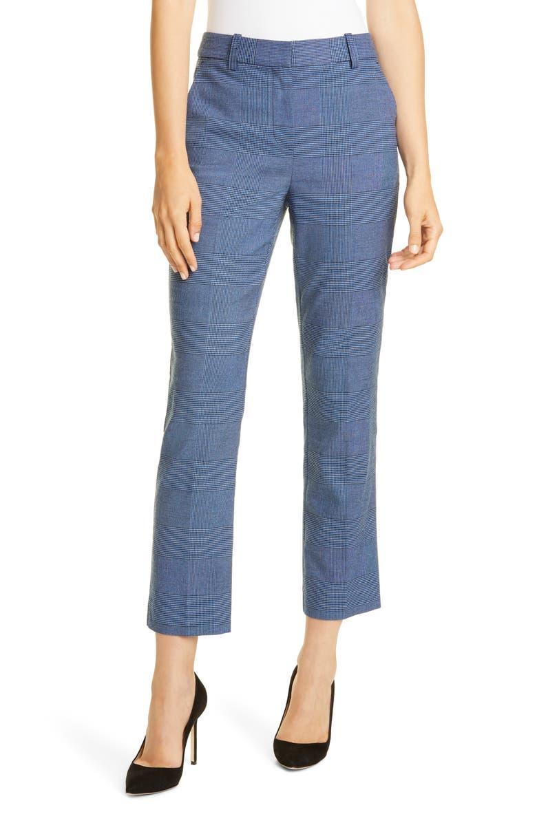 REBECCA TAYLOR Glen Plaid Pants, Main, color, CADET COMBO