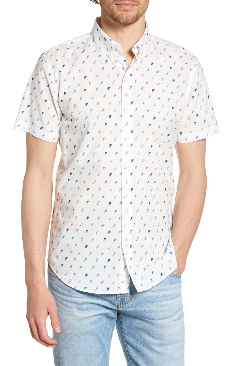 BONOBOS Riviera Slim Fit Print Shirt, Main, color, 100