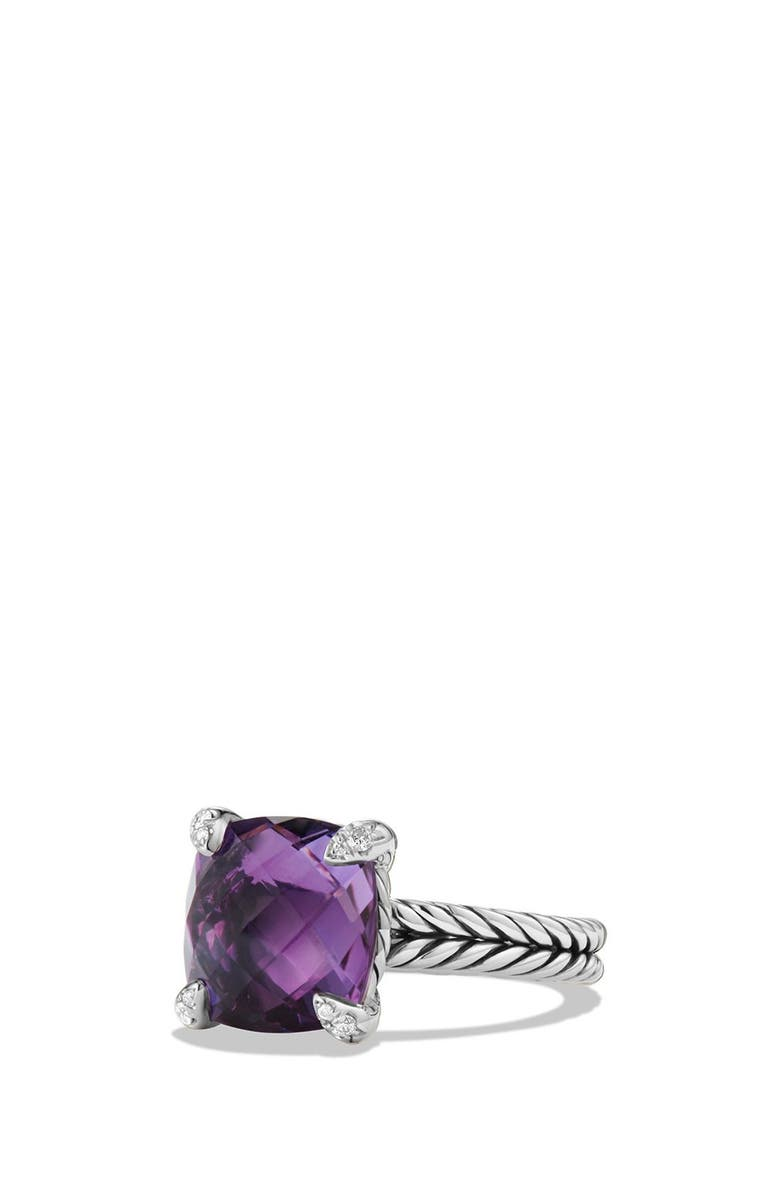 DAVID YURMAN Châtelaine Ring with Semiprecious Stone and Diamonds, Main, color, SILVER/ AMETHYST