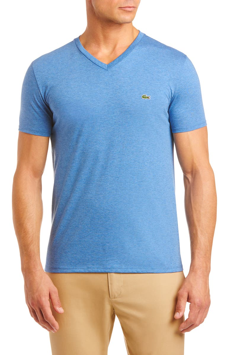 LACOSTE Regular Fit V-Neck T-Shirt, Main, color, ALBY CHINE