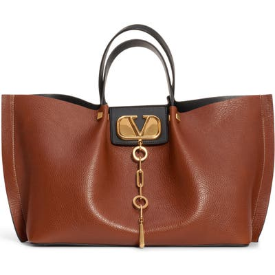 Valentino Garavani Medium Vlogo Leather Tote - Brown