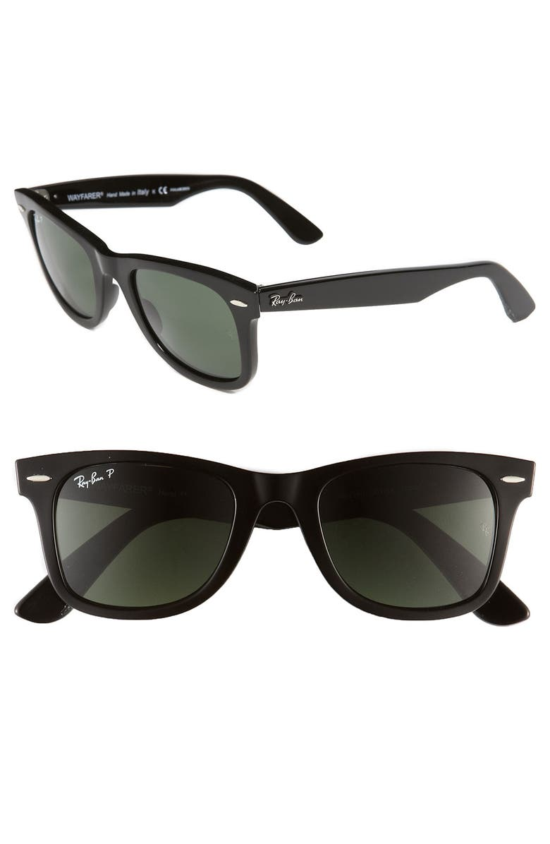 RAY-BAN Standard Classic Wayfarer 50mm Polarized Sunglasses, Main, color, BLACK POLARIZED