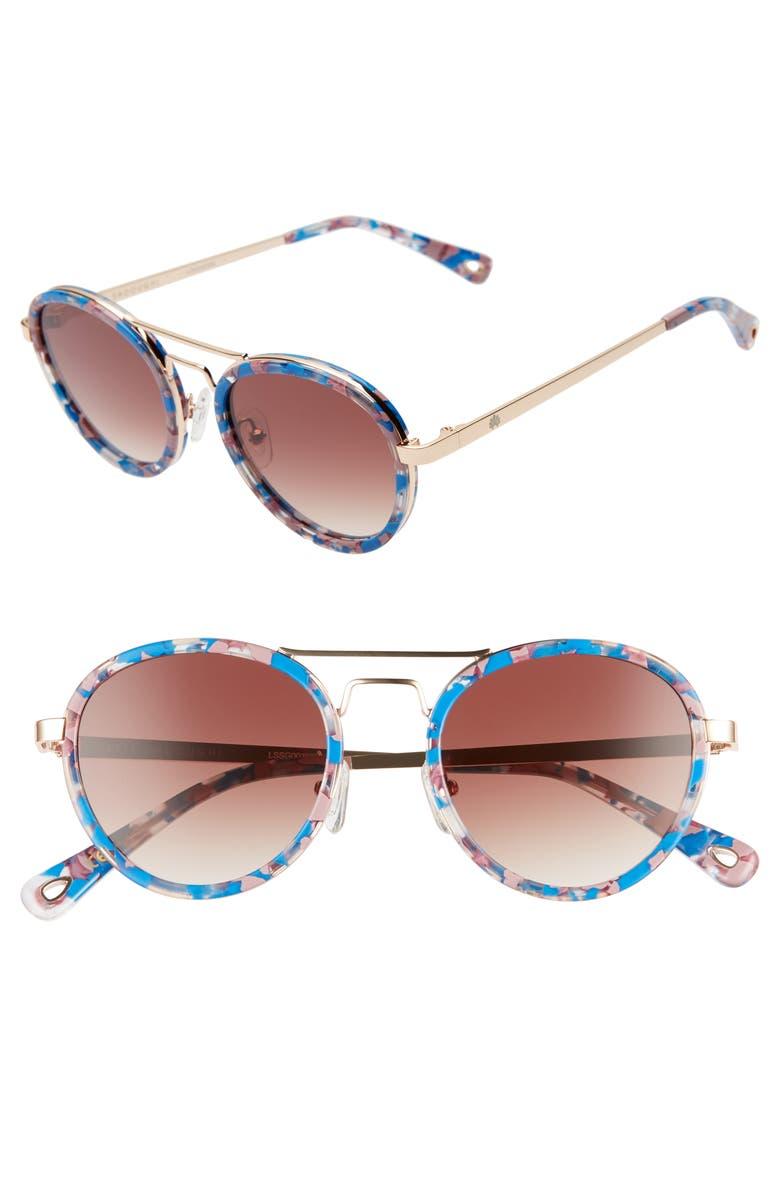 LELE SADOUGHI Downtown 48mm Aviator Sunglasses, Main, color, SUNSET BLUE/ SMOKEY BROWN