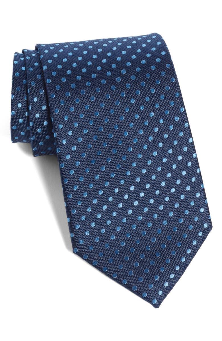 NORDSTROM MEN'S SHOP Norton Dot Silk Tie, Main, color, NAVY