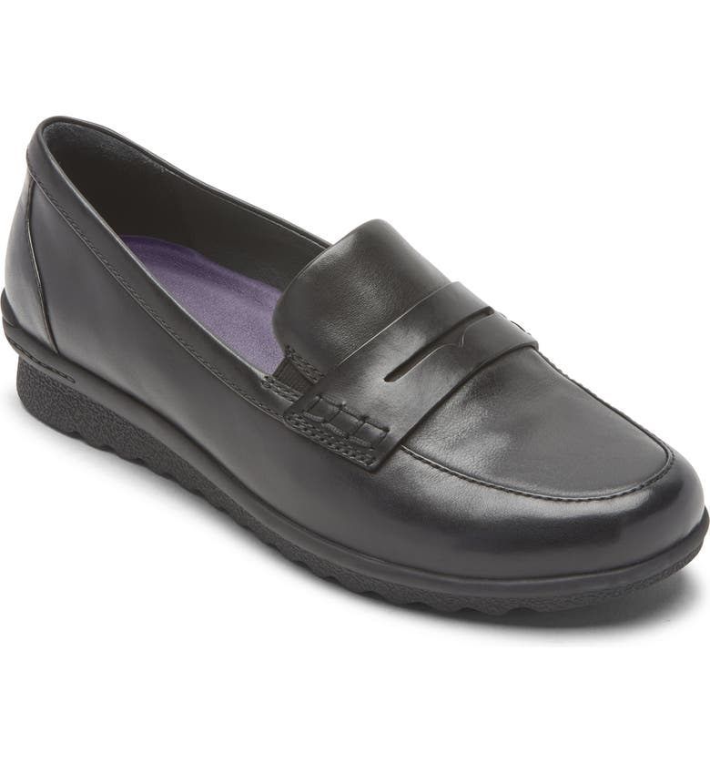 ARAVON Josie Water Repellent Penny Loafer, Main, color, BLACK LEATHER