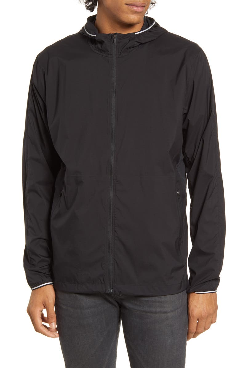 REIGNING CHAMP Hooded Ripstop Nylon Running Jacket, Main, color, BLACK