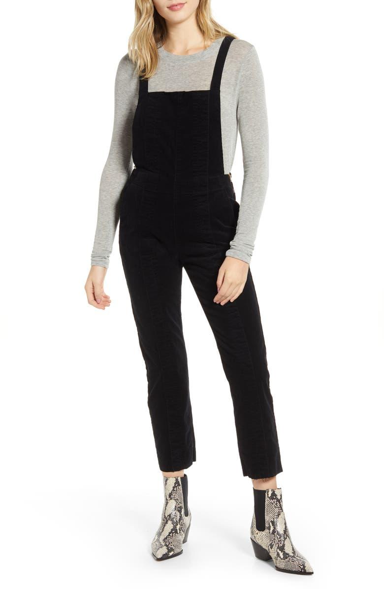 AG Isabelle Corduroy Overalls, Main, color, SUPER BLACK