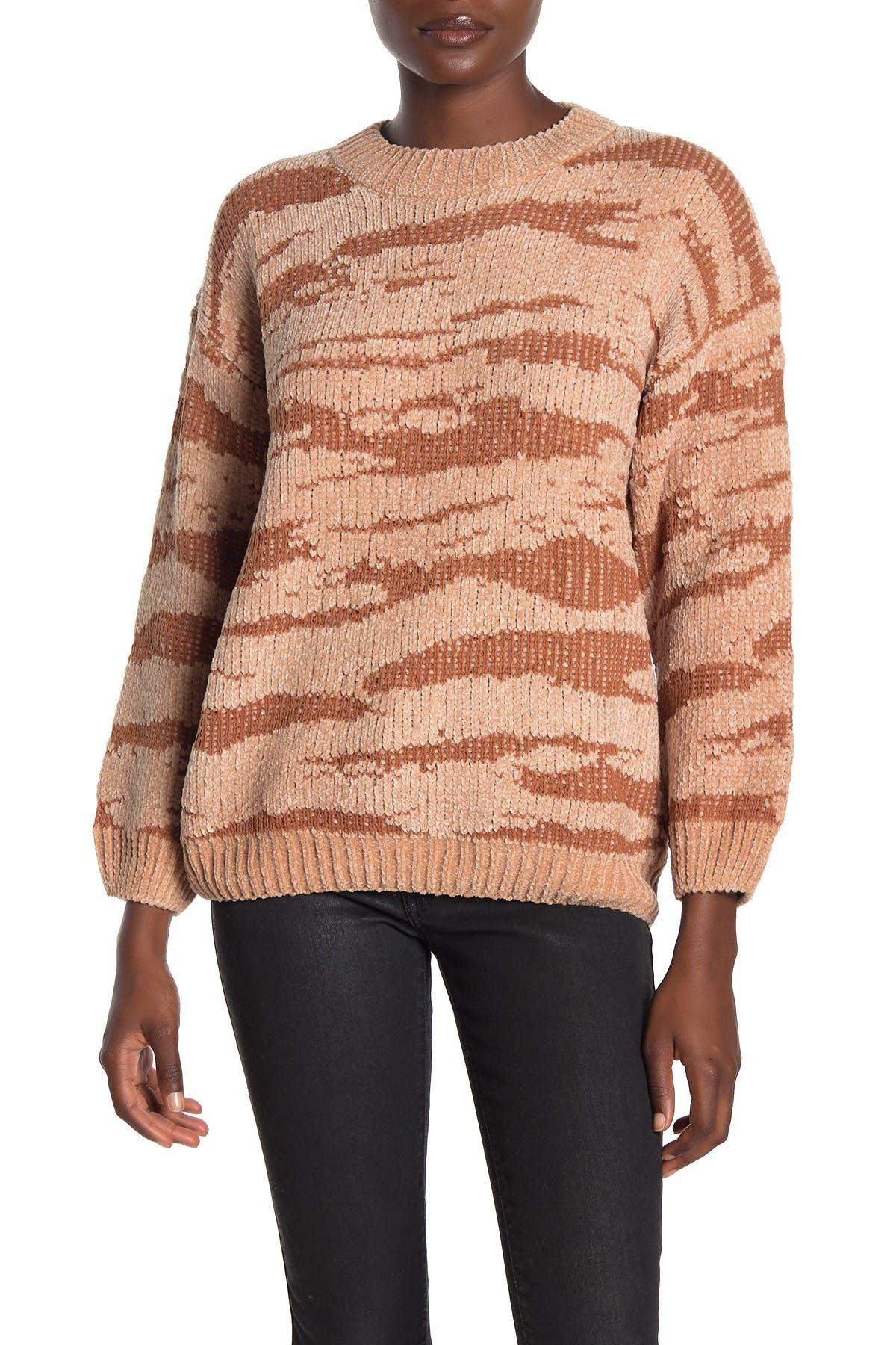 Image of Woven Heart Animal Print Crew Neck Sweater