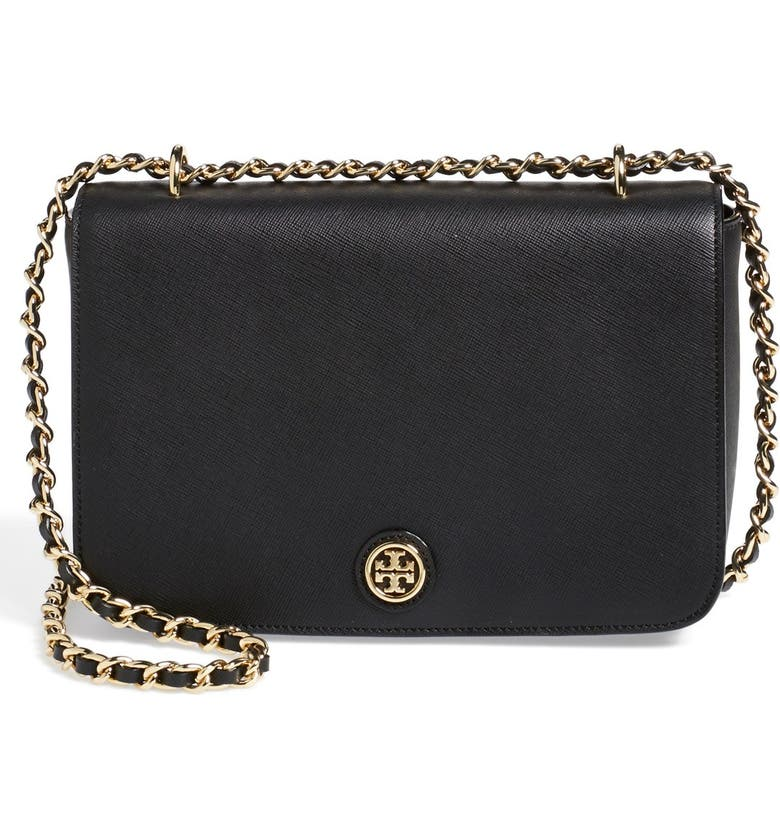 TORY BURCH 'Robinson' Leather Shoulder Bag, Main, color, 001