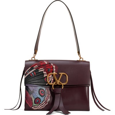 Valentino Garavani Medium Vring U Print Calfskin Shoulder Bag - Brown