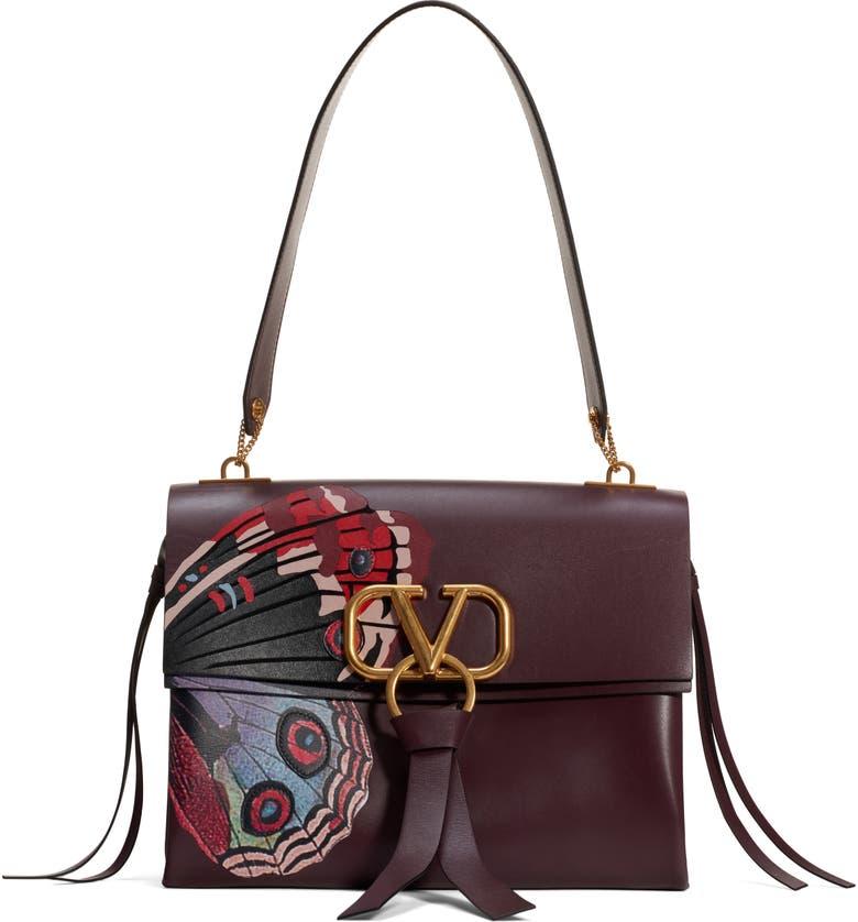 VALENTINO GARAVANI Medium VRing U Print Calfskin Shoulder Bag, Main, color, 200