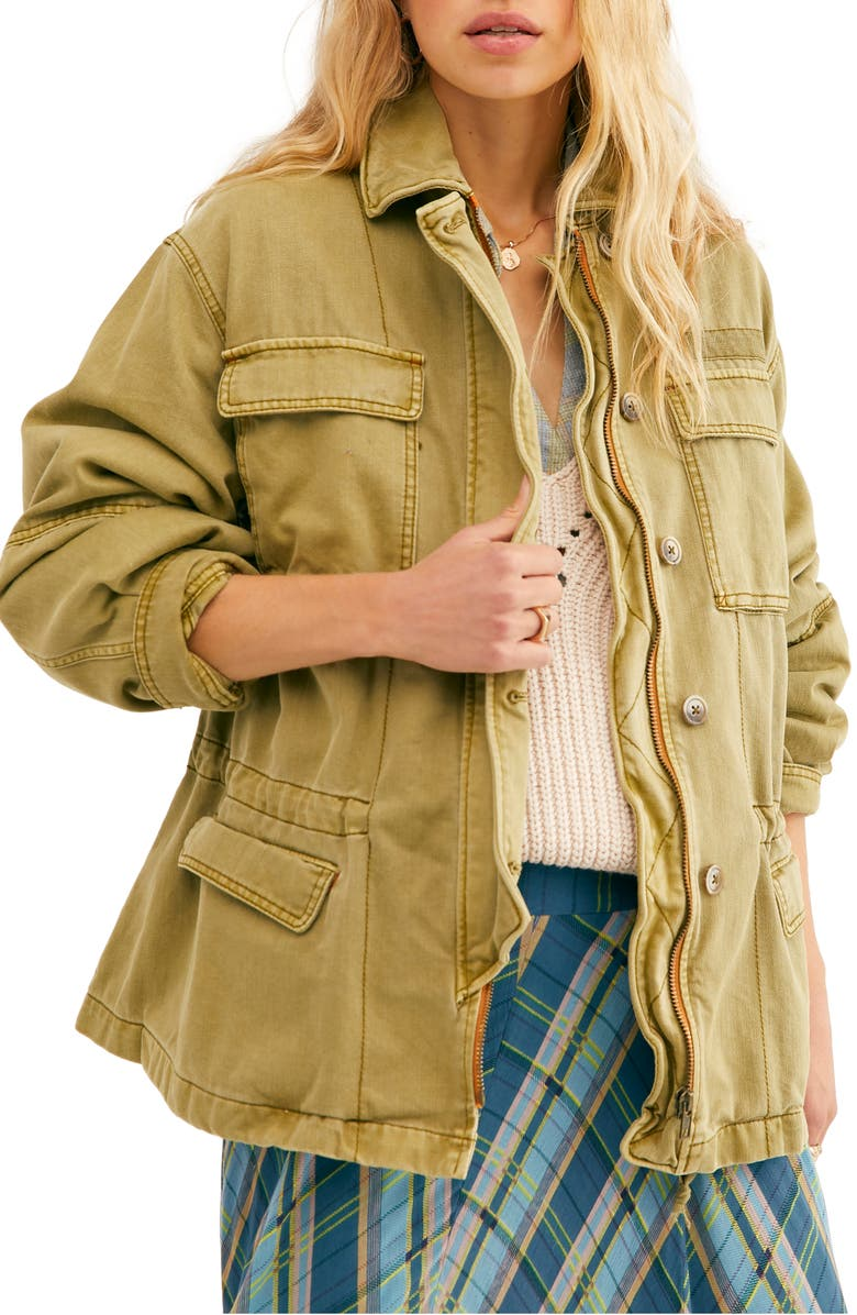 FREE PEOPLE Seize The Day Jacket, Main, color, ARMY