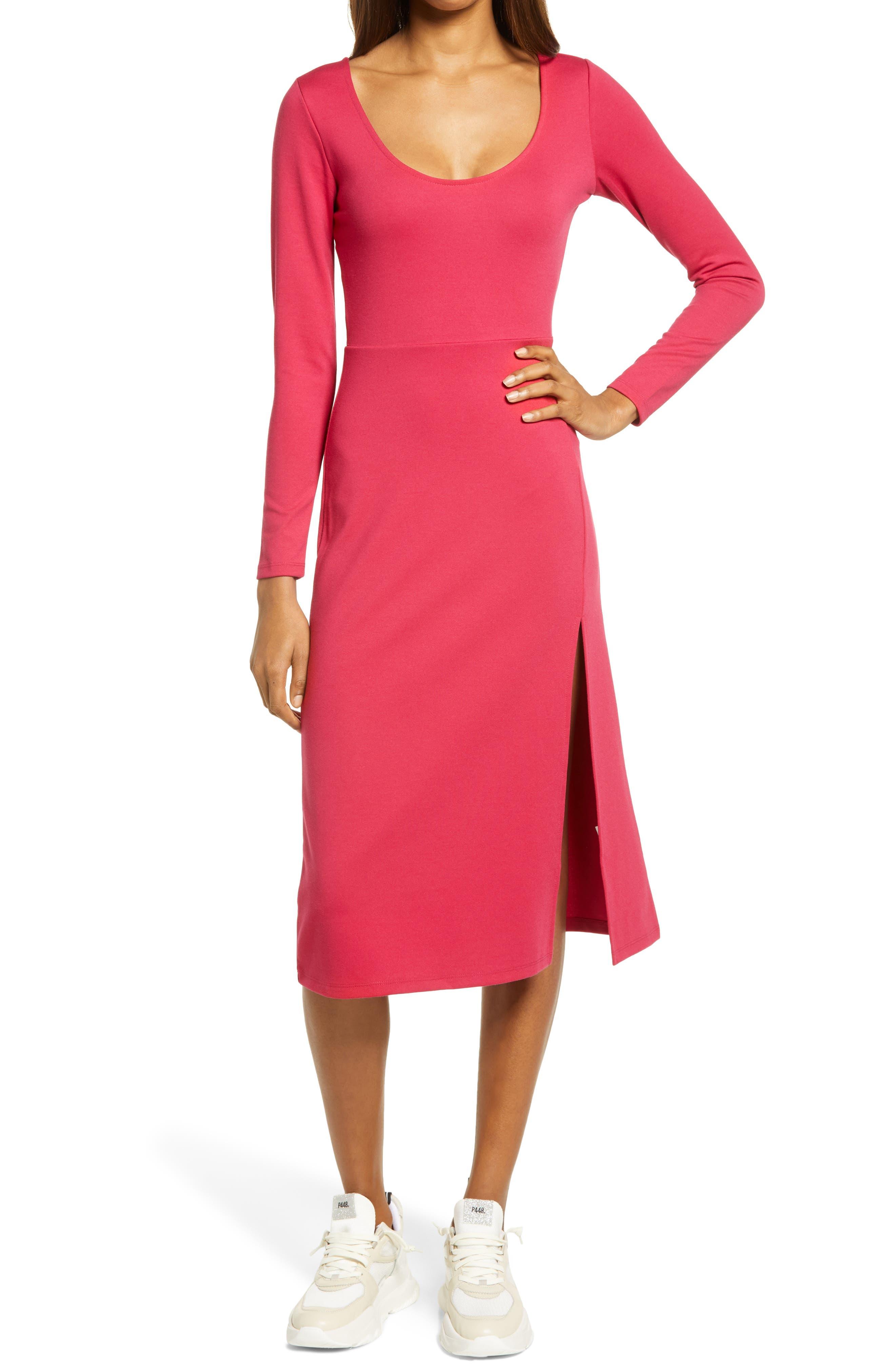 Long Sleeve Side Slit Midi Dress