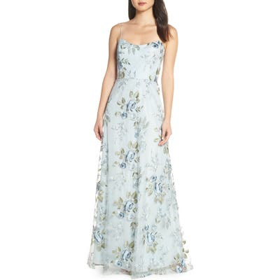 Jenny Yoo Drew Floral Embroidered Tulle Evening Dress, Blue