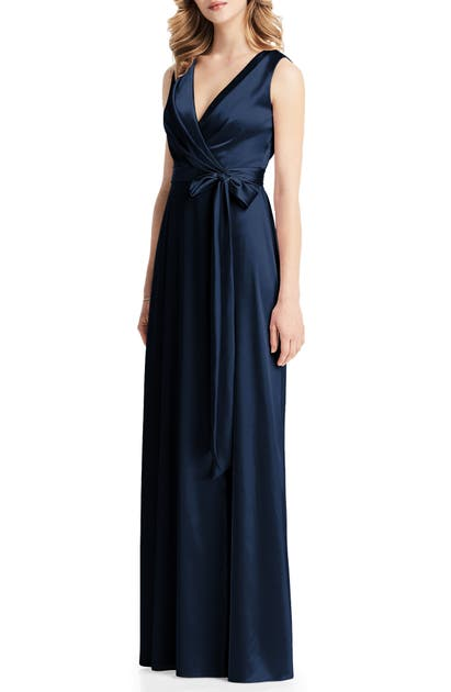 Jenny Packham Stretch Charmeuse Wrap Gown In Midnight