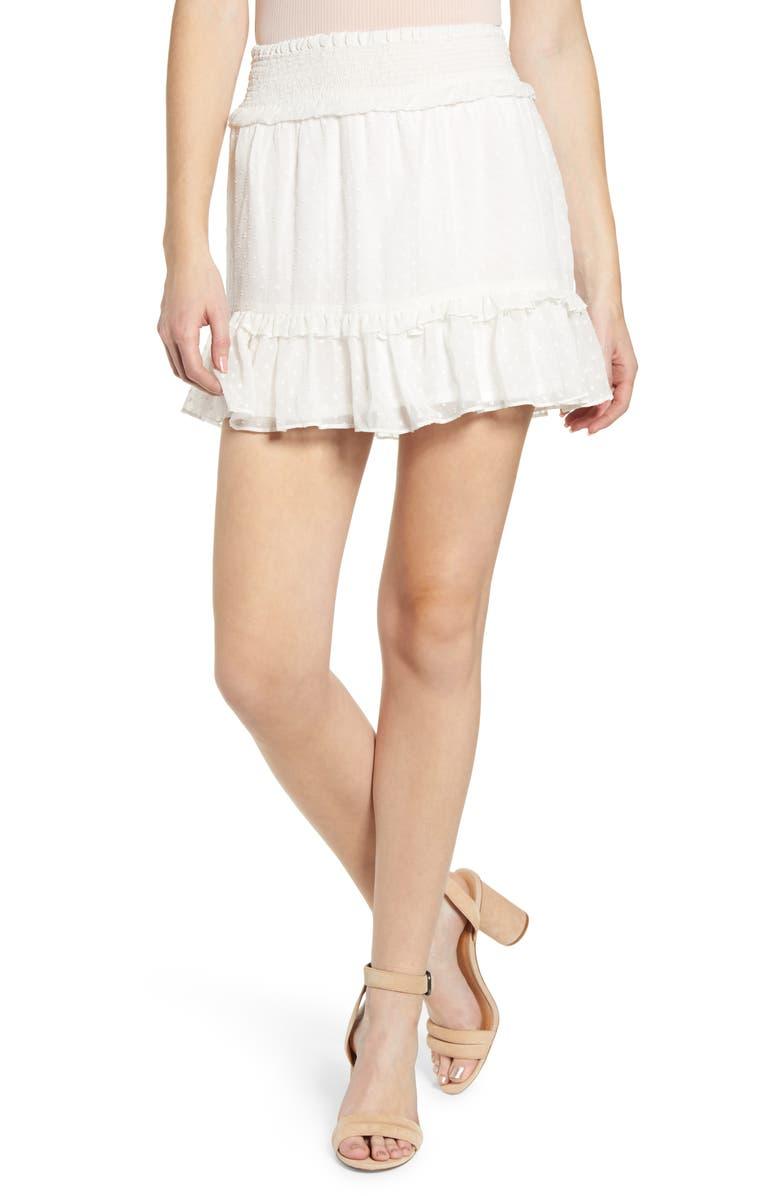 A LA PLAGE Smocked Miniskirt, Main, color, 100