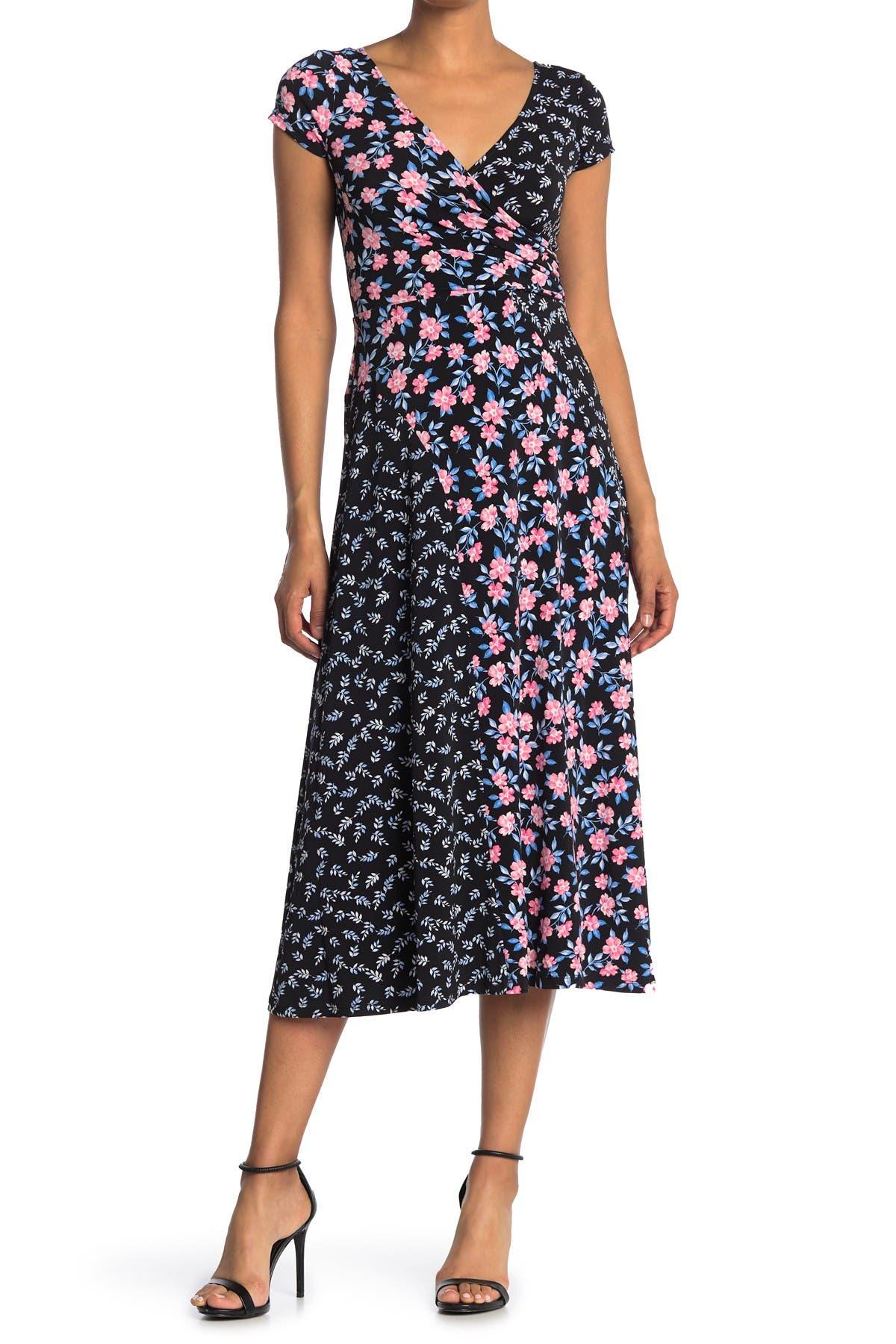 Image of Maggy London Mixed Print Midi Dress