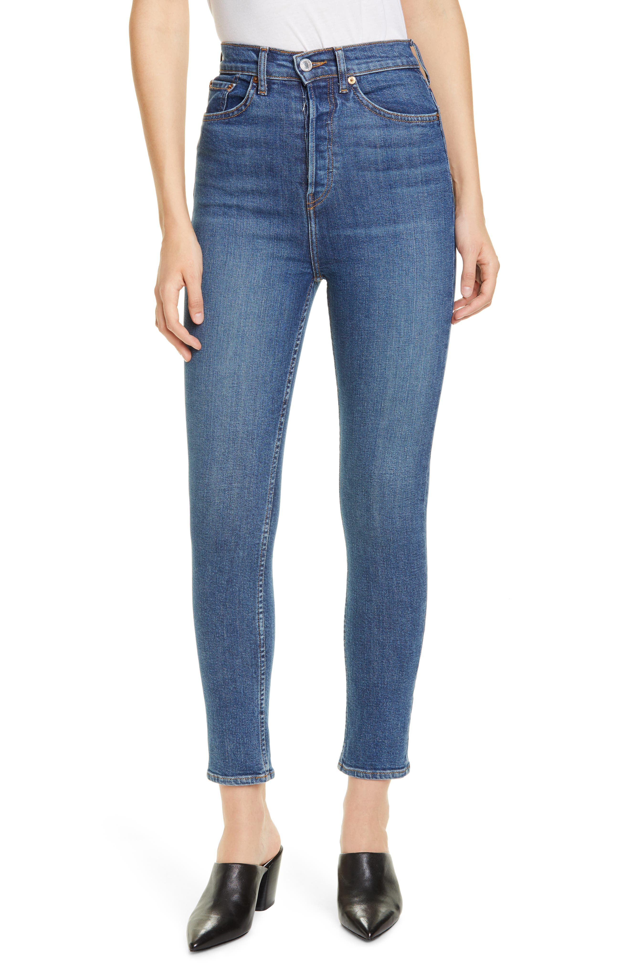 Women's Re/done Ultra High Rise Ankle Skinny Jeans,  25 - Blue