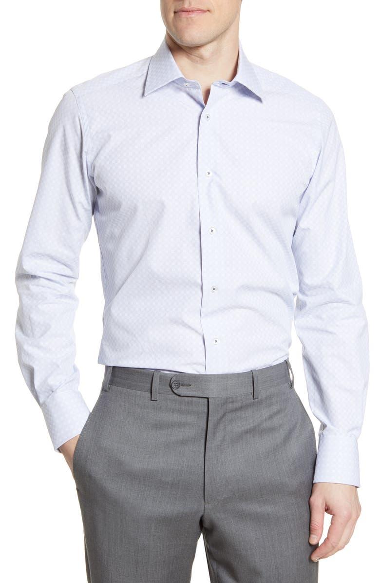DAVID DONAHUE Trim Fit Plaid Dress Shirt, Main, color, WHITE/BLUE