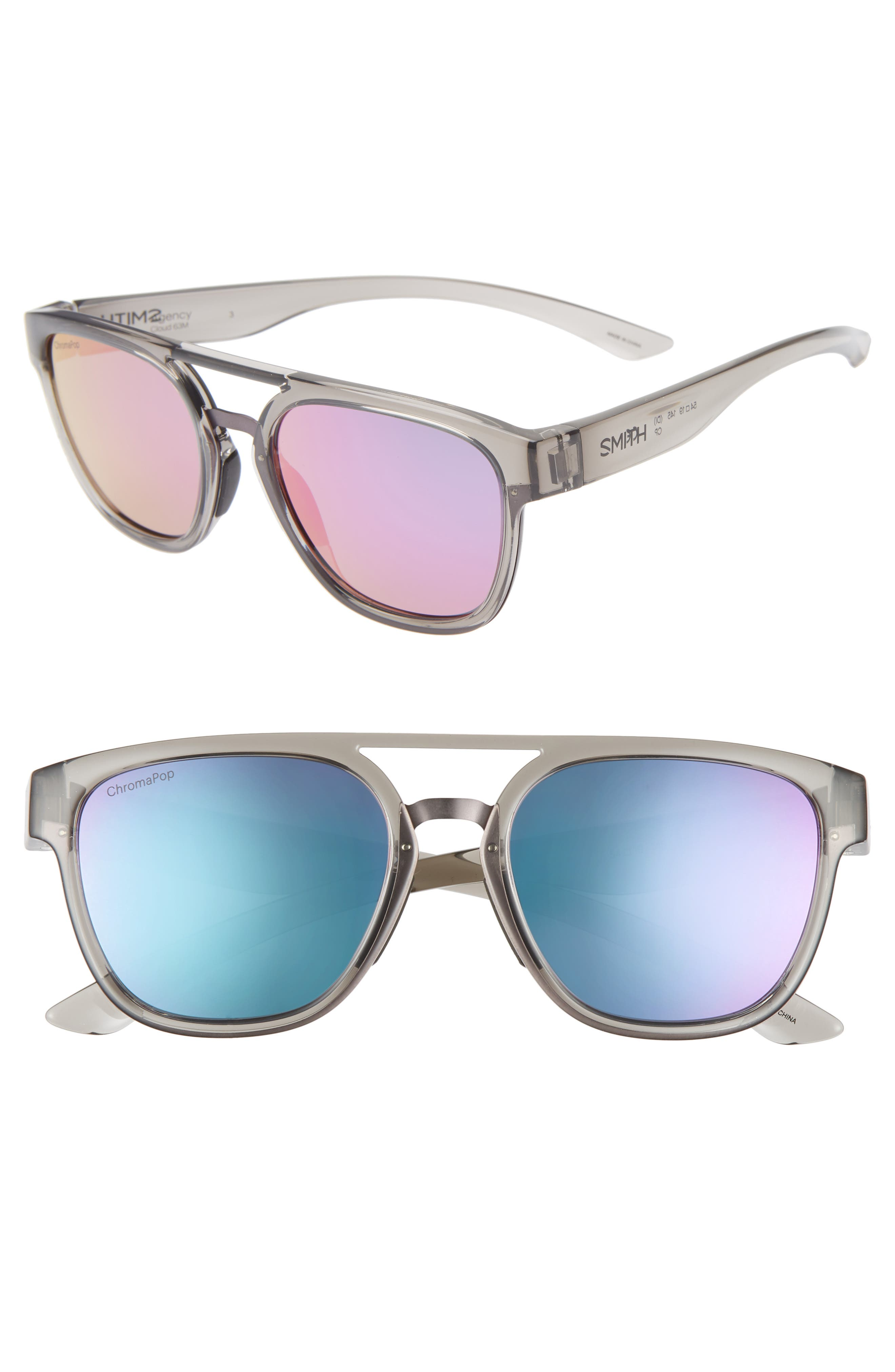 ,                             Agency 54mm ChromaPop<sup>™</sup> Mirrored Sunglasses,                             Main thumbnail 1, color,                             GREY CLOUD/ PURPLE