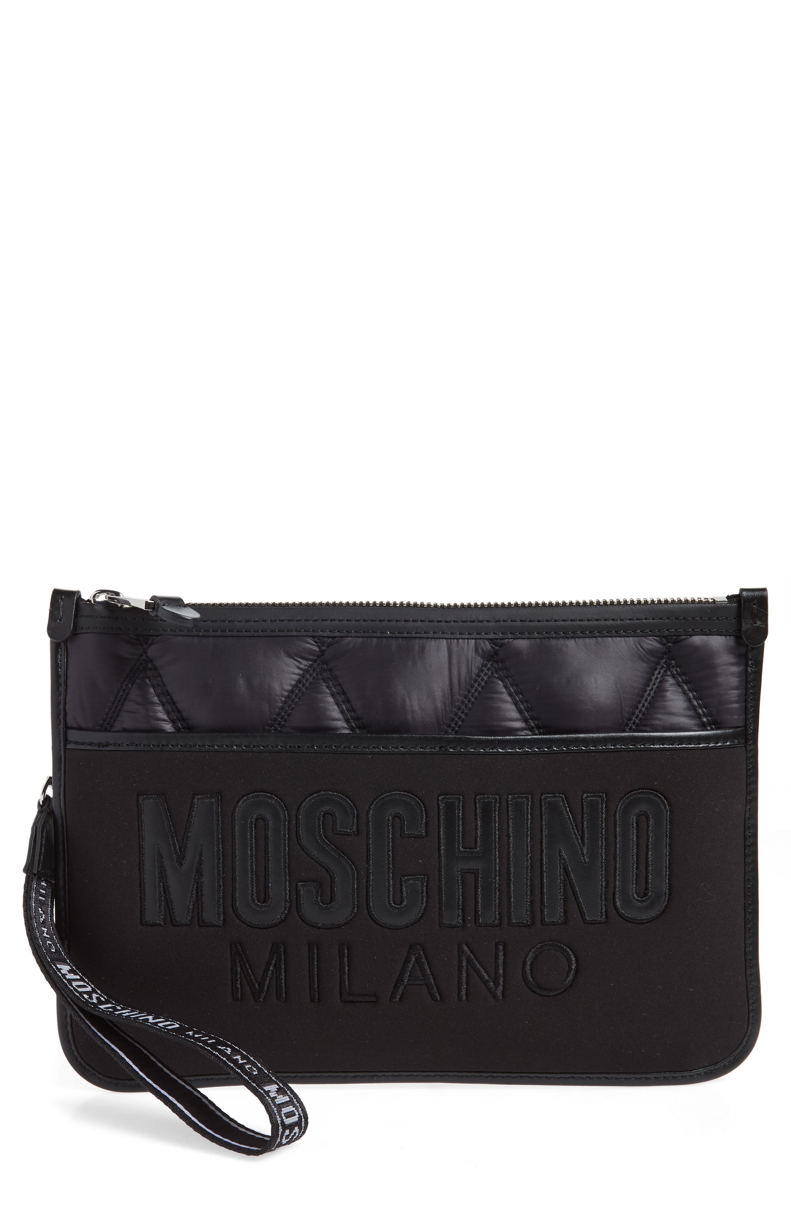 Quilted Nylon Clutch, Main, color, BLACK