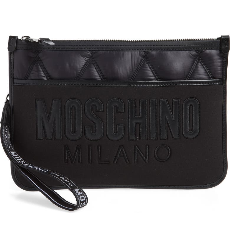 MOSCHINO Quilted Nylon Clutch, Main, color, 001