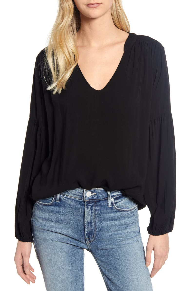 VELVET BY GRAHAM & SPENCER V-Neck Blouse, Main, color, 001