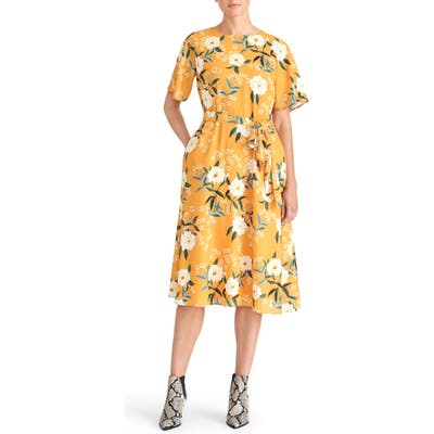 Rachel Roy Collectionfloral Belted Dress, Yellow