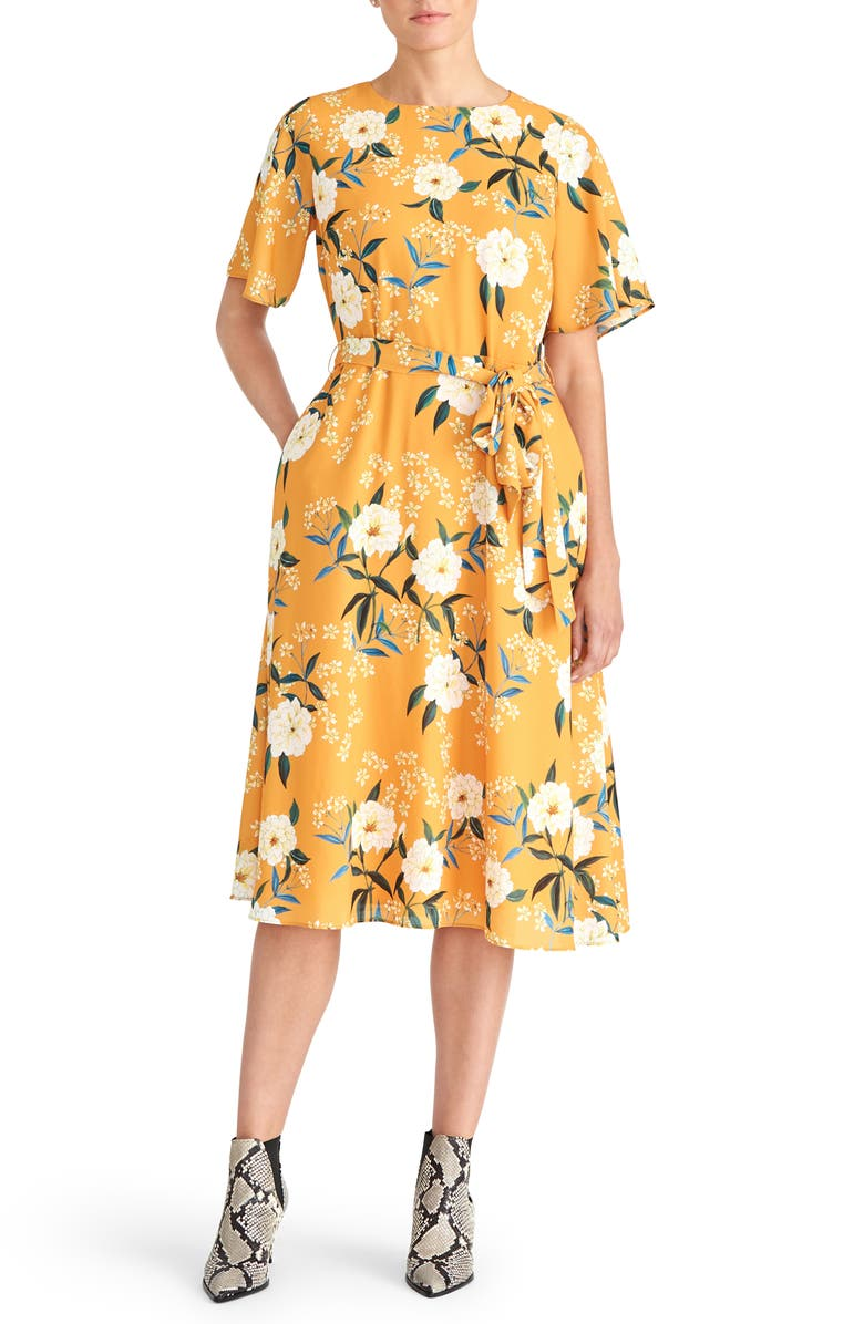 RACHEL ROY COLLECTION Floral Belted Dress, Main, color, GOLDENROD COMBO