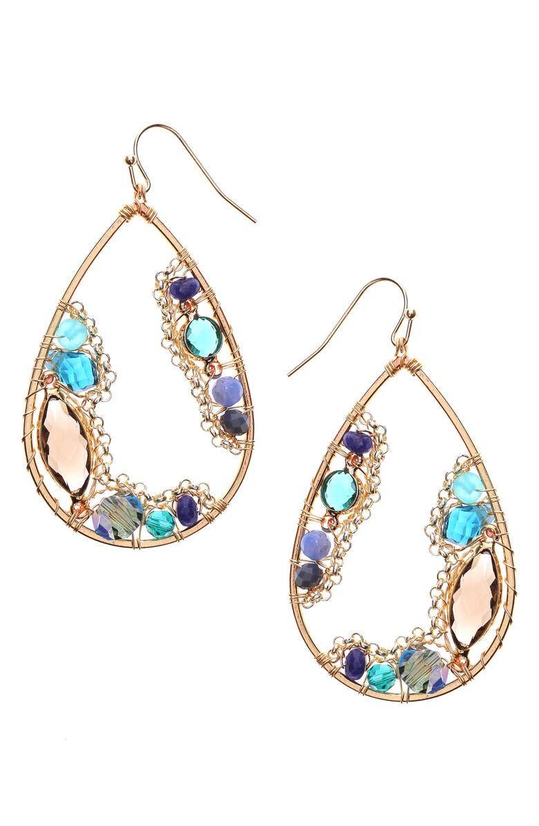 NAKAMOL CHICAGO Crystal Teardrop Earrings, Main, color, 710