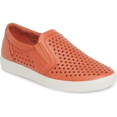 Ecco Soft 7 Laser Cut Slip-On Sneaker, Orange