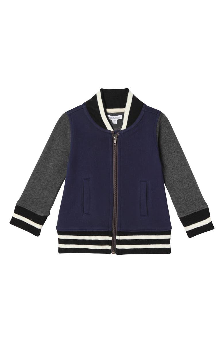 ART & EDEN Sebastian Organic Cotton Zip Jacket, Main, color, NAVY