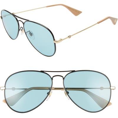 Gucci 60Mm Aviator Sunglasses - Black/ Green/ Gold