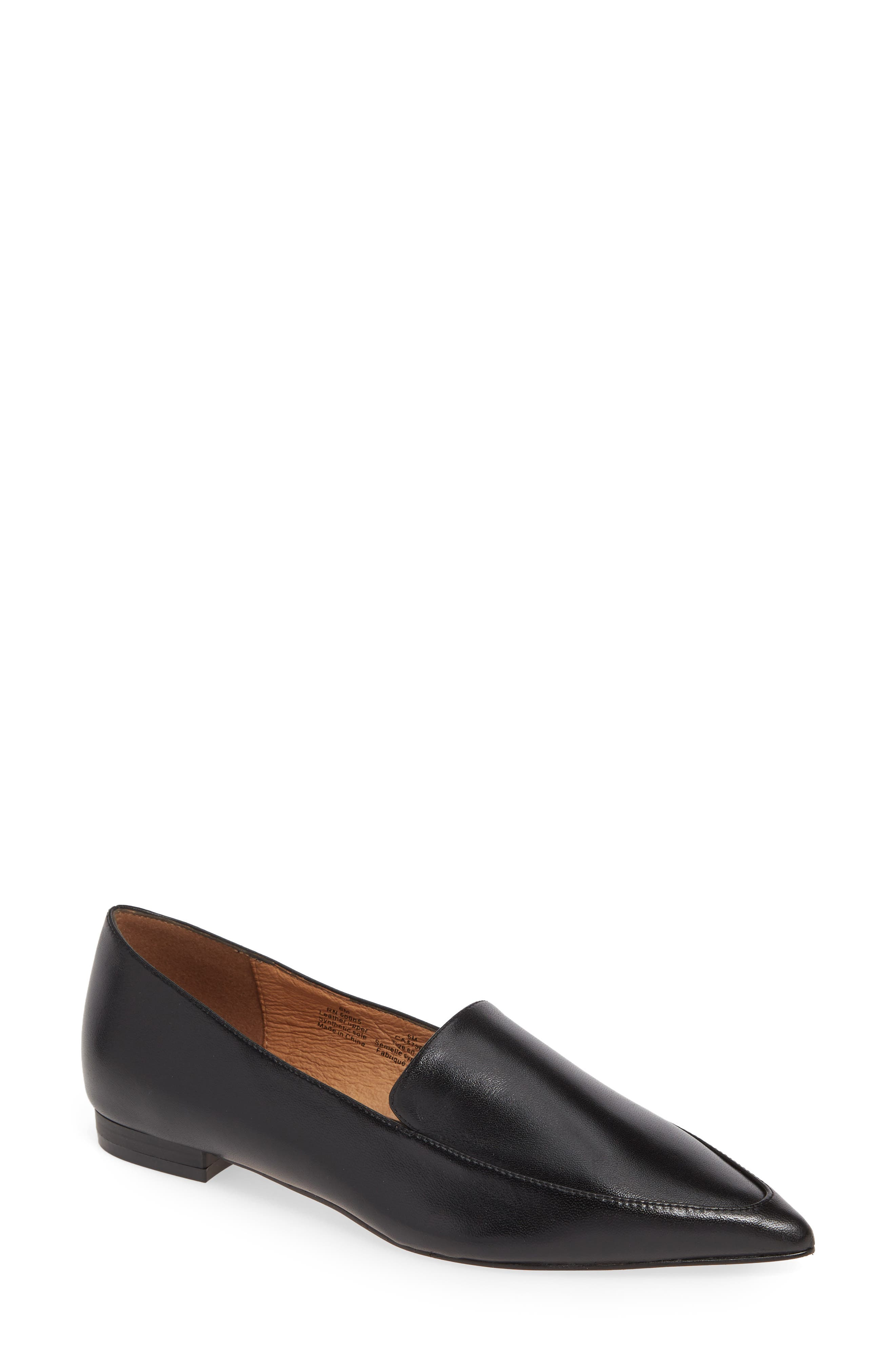 Kendra Pointy Toe Loafer, Main, color, BLACK LEATHER