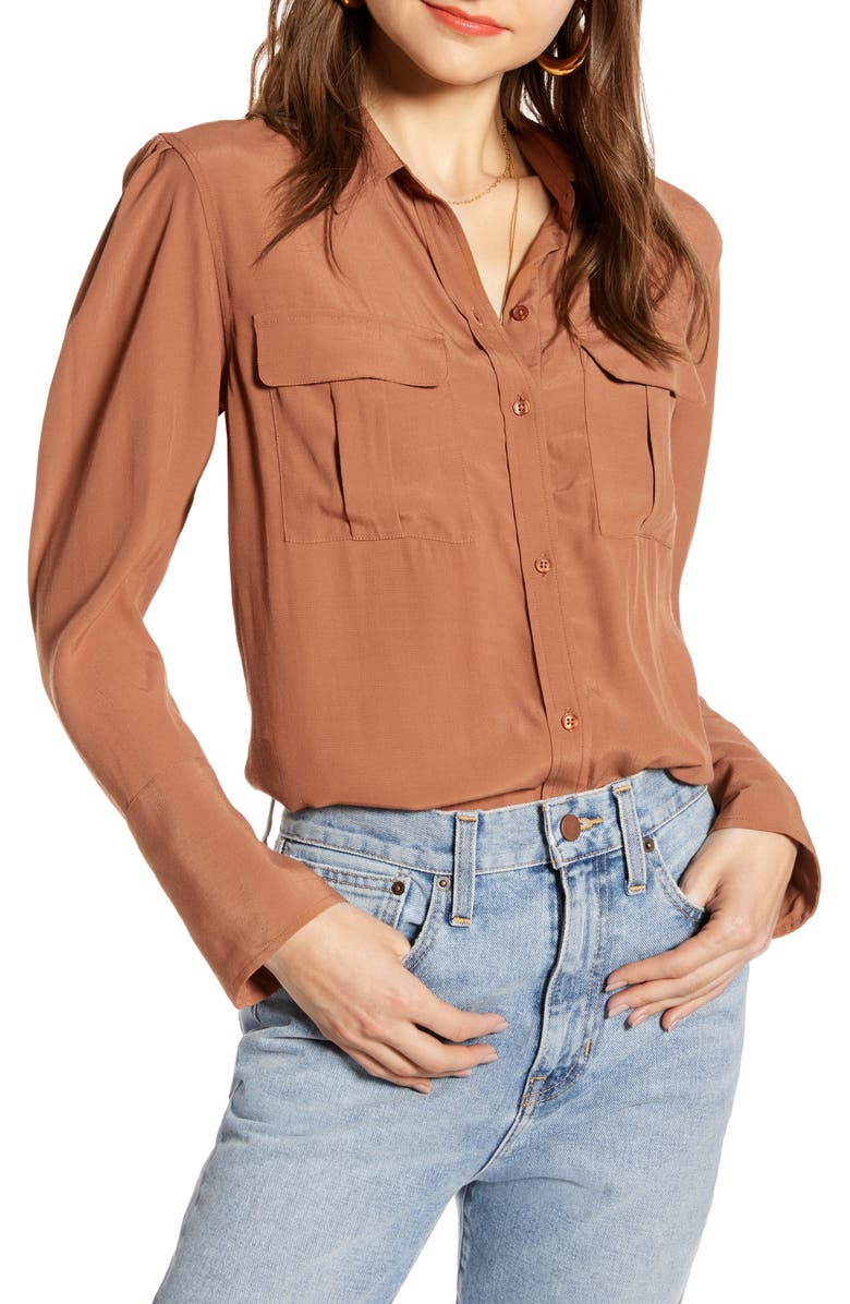 SOMETHING NAVY Utility Blouse, Main, color, BROWN CAROB